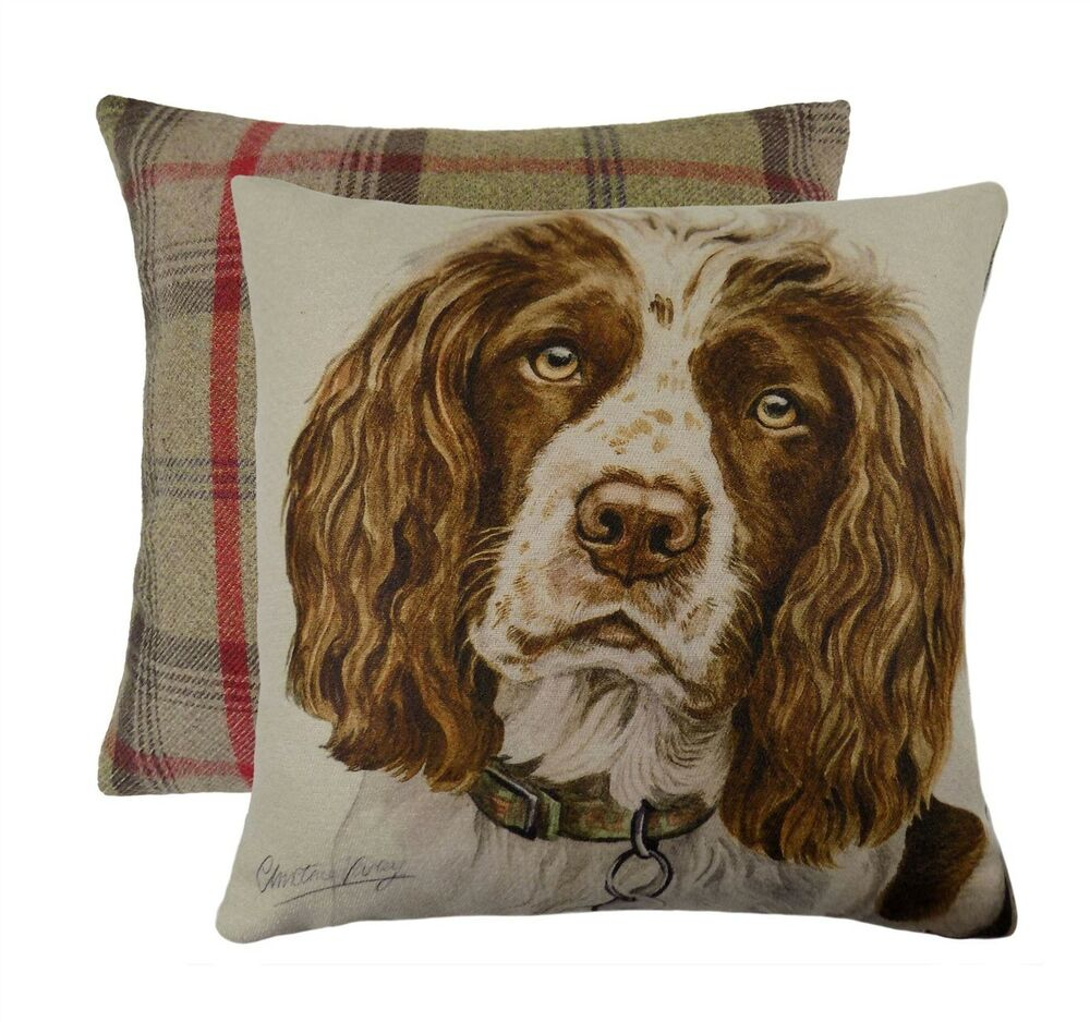 gef llt evans lichfield springer spaniel hund wende tartan braun kissen 43cm ebay. Black Bedroom Furniture Sets. Home Design Ideas