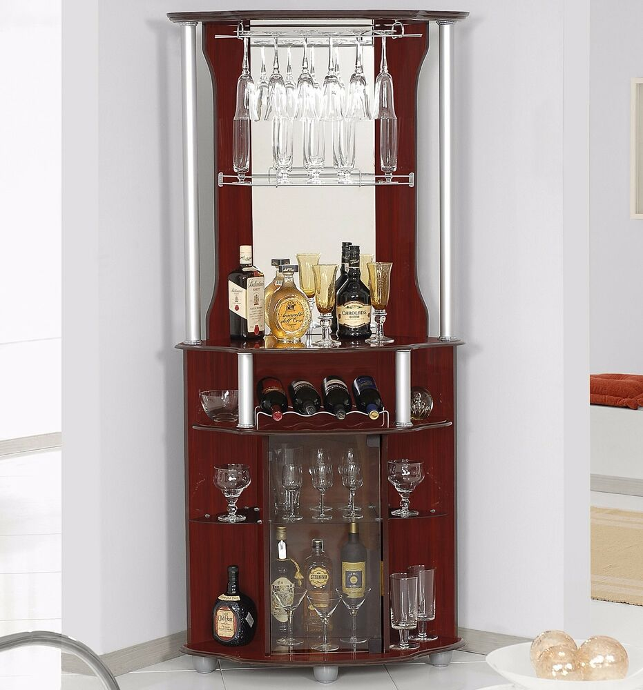 Bar Cabinet Corner Home Bottle Storage Wine Rack Liquor Pub Furniture  Stemware. Home Corner Bars with Storage   eBay