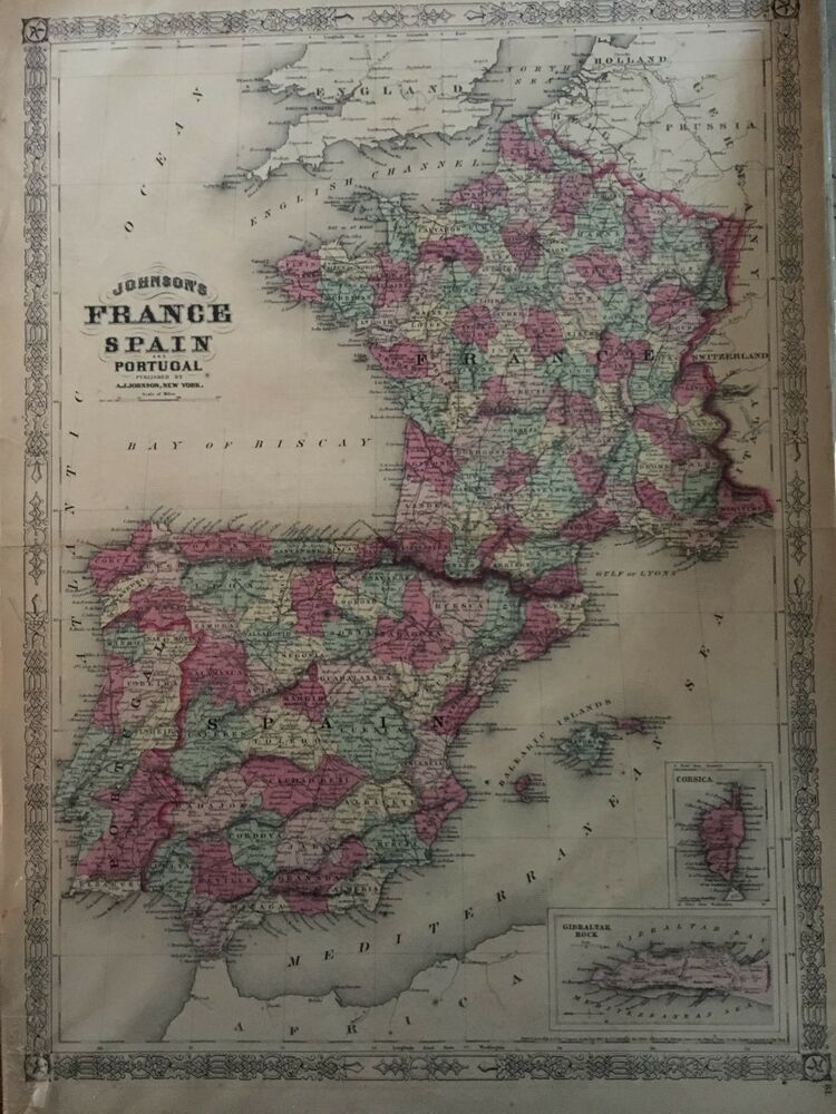 Map Of Spain Portugal And France.Original 1866 A J Johnson S Hand Colored Vintage Map France Spain