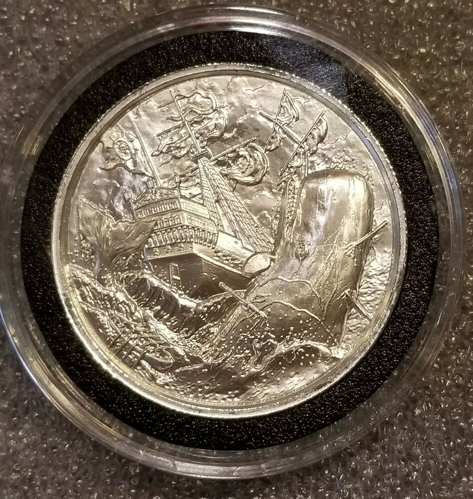 2 Oz Privateer Whaler High Relief Silver Round 999 Fine