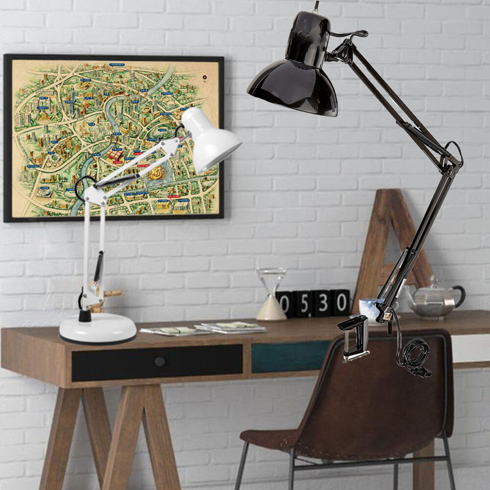 multi joint swing arm desk lamp clamp on table light with metal clip e27 bulb ebay. Black Bedroom Furniture Sets. Home Design Ideas