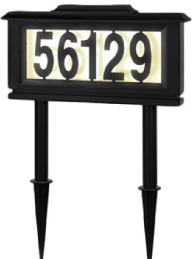 outdoor lighted house number sign led solar powered. Black Bedroom Furniture Sets. Home Design Ideas