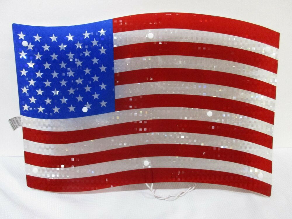 Patriotic 4th of july shimmery lighted american flag sign for American flag decoration