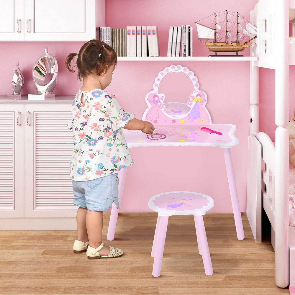 Details about Make Up Play Set Desk Chair Mirror Girls Pink Dressing Table  w  stool MDF Pink 13a1ec089