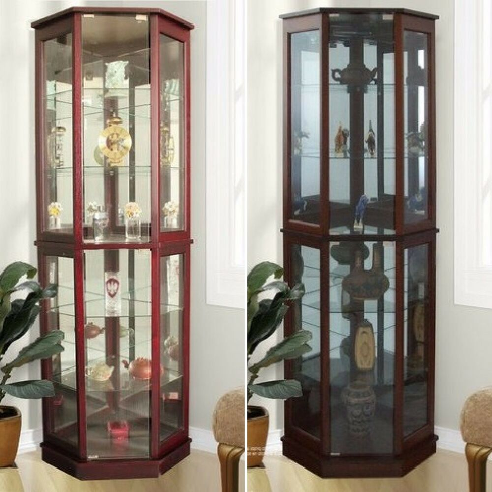 Lighted Curio Cabinet Storage Tall Mirrored Display Case 5