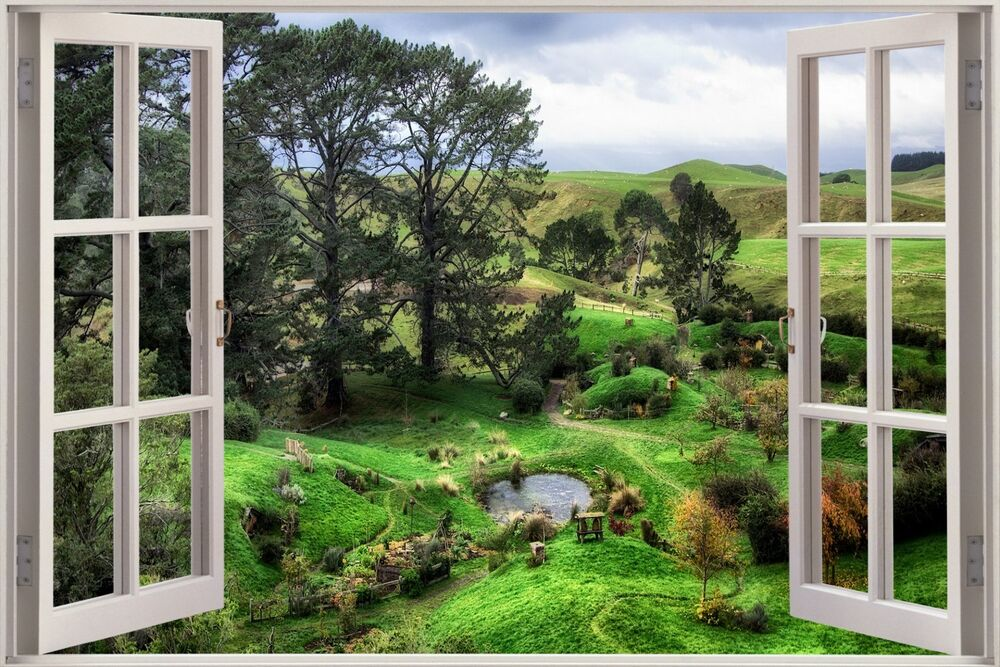 3d Effect Window View Countryside Nature Sticker Wall