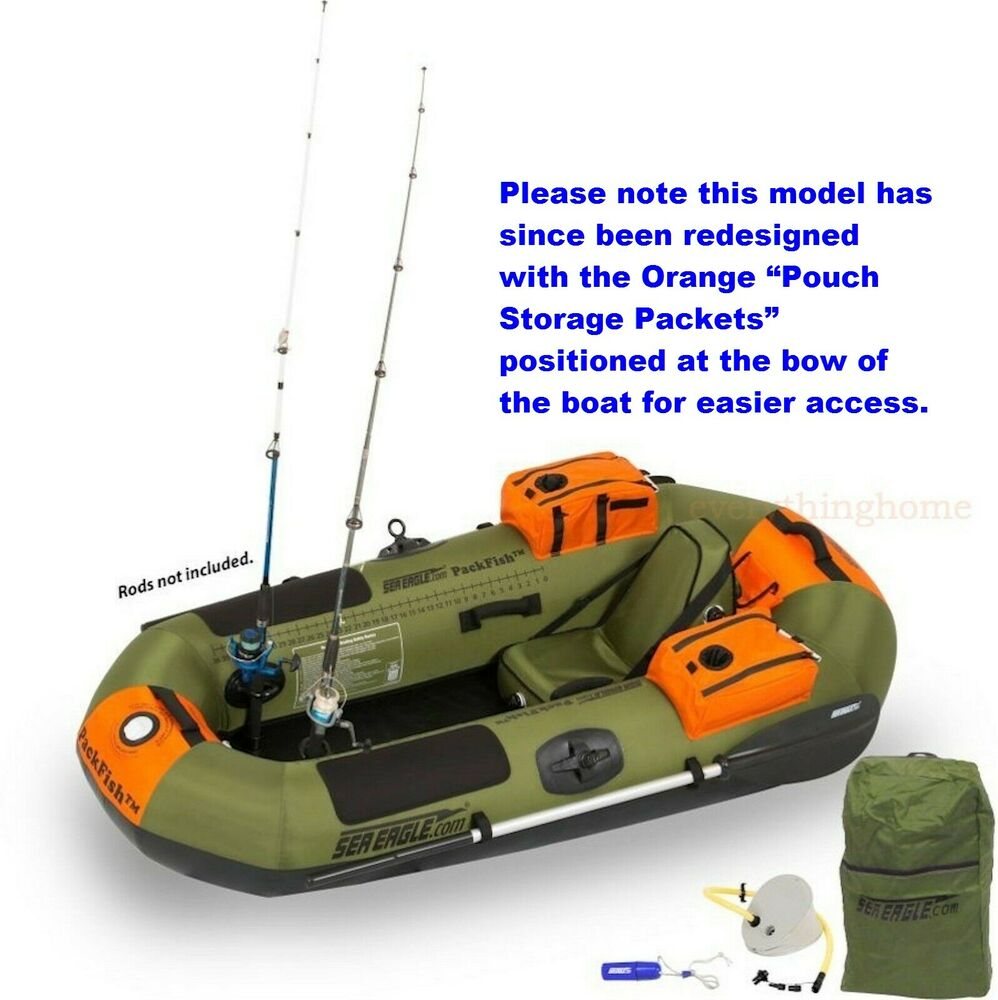 SEA EAGLE PACKFISH 7 DELUXE PACKAGE PORTABLE INFLATABLE FISHING BOAT ...