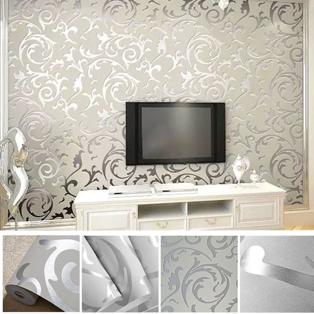 vliestapete 3d optik vlies wand tapete barock rolle wandtapete dekoration silber ebay. Black Bedroom Furniture Sets. Home Design Ideas