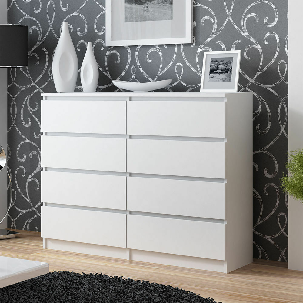 kommode sideboard anrichte schrank 8 schubladen 140 cm wei neu ebay. Black Bedroom Furniture Sets. Home Design Ideas