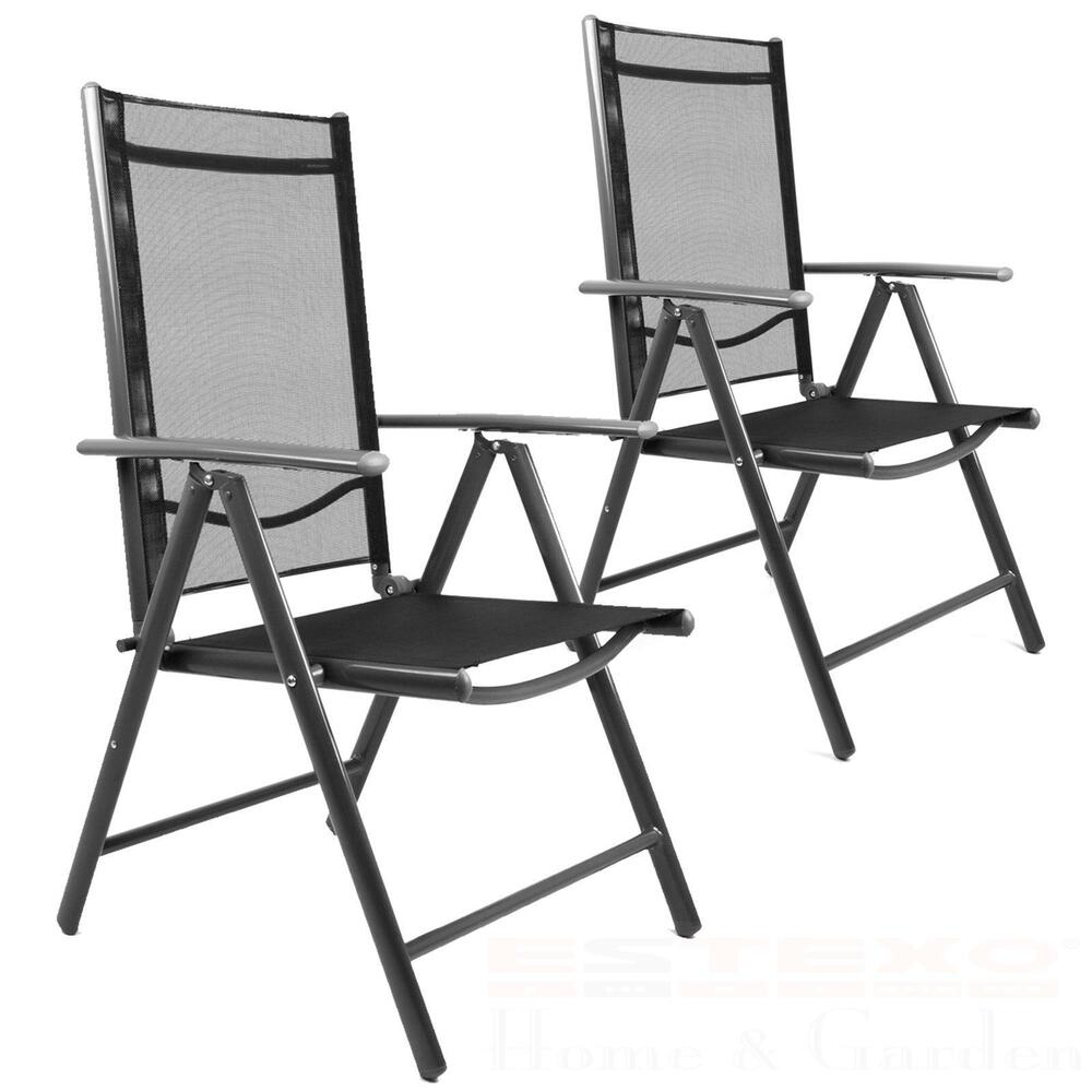 2x gartenstuhl schwarz hochlehner campingstuhl klappstuhl alu aluminium stuhl ebay. Black Bedroom Furniture Sets. Home Design Ideas