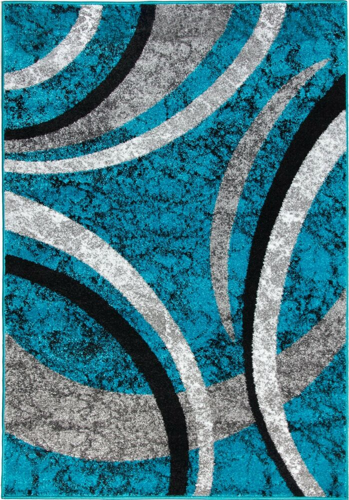 Black Grey Silver Blue Rug Mat Carpet Abstract Living Room