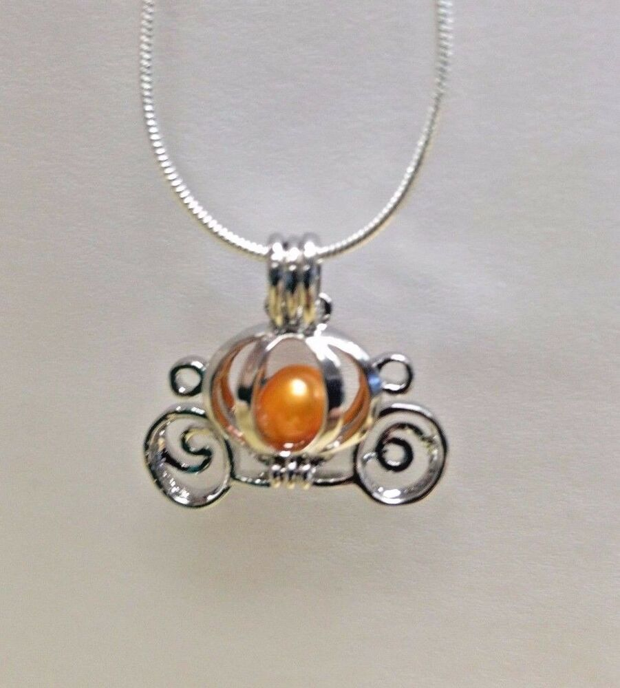 make a wish pearl cage pendant necklace pumpkin carriage