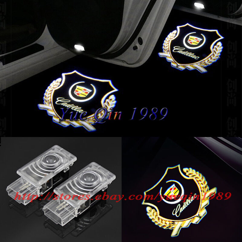 Details About 2x Led Gold Logo Door Courtesy Laser Shadow Lights For Cadillac Cts Srx Ats Xts