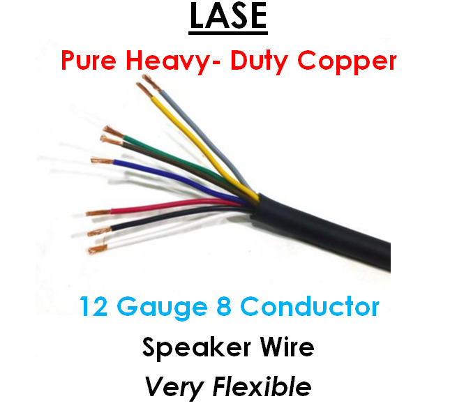 LASE 12 AWG Gauge 8 Conductor Heavy Duty Speaker Wire (Sold in 10 Ft ...