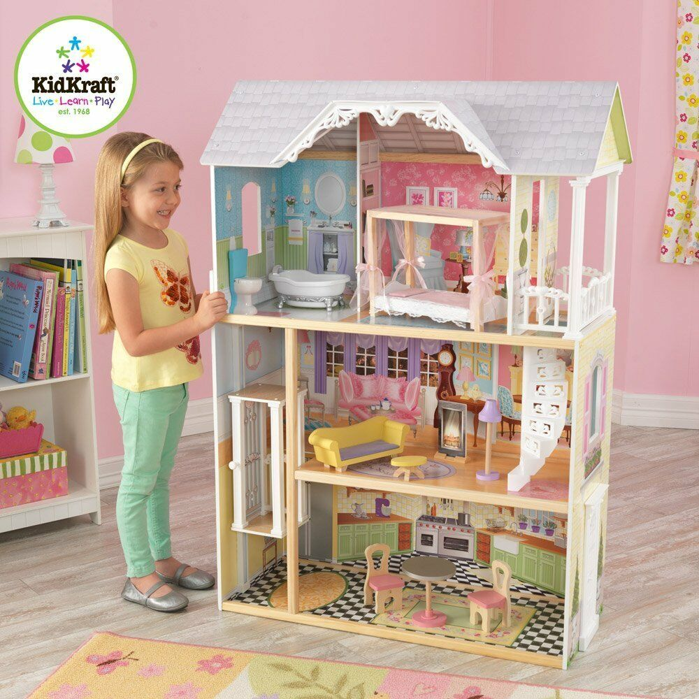 Girls Wooden Doll House Fits
