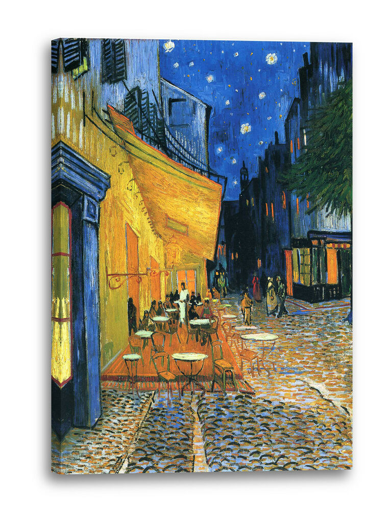 lein wand bild kunstdruck vincent van gogh nachtcaf nachts vor dem caf an d ebay. Black Bedroom Furniture Sets. Home Design Ideas