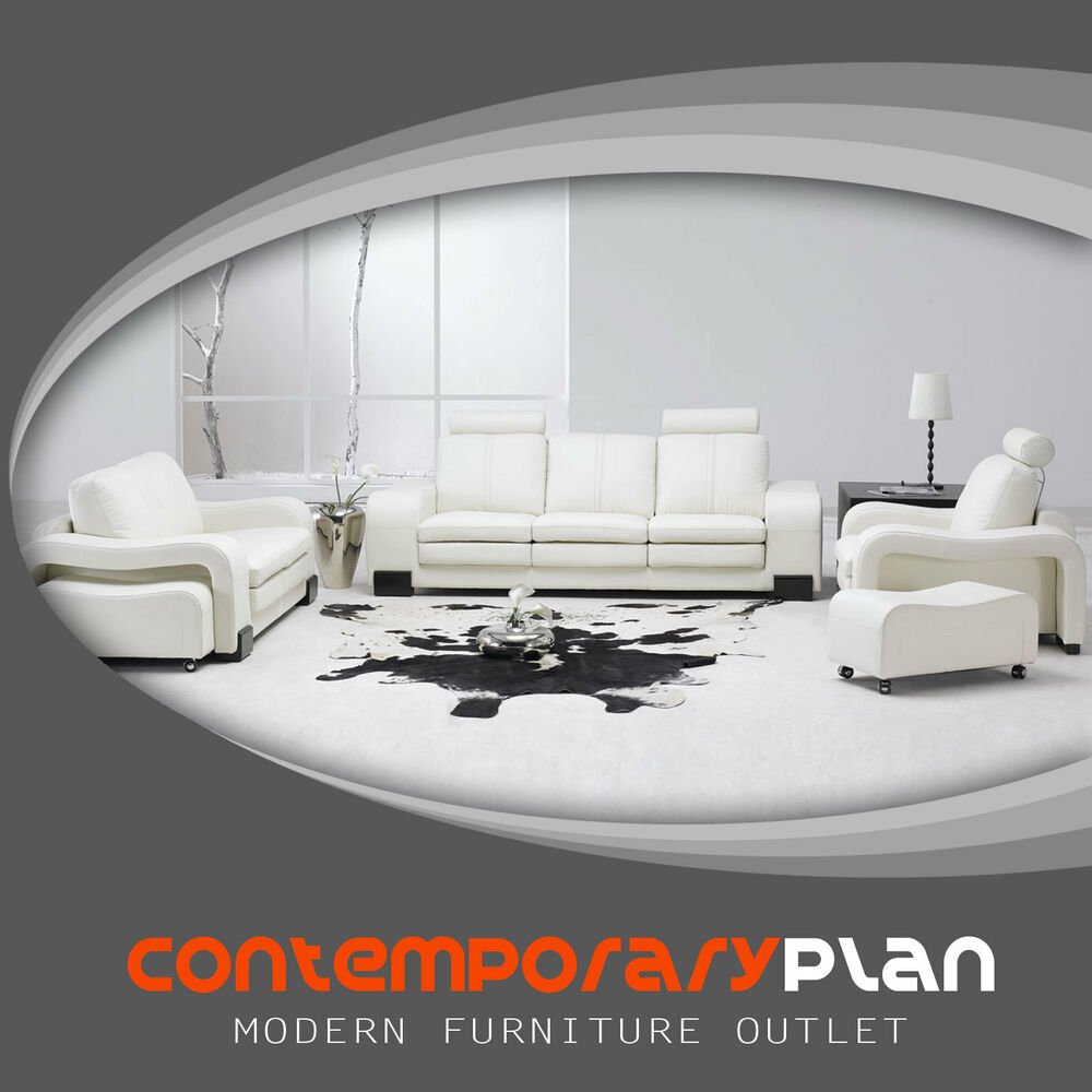 Contemporary White Leather Living Room Set Modern Sofa Couch ...