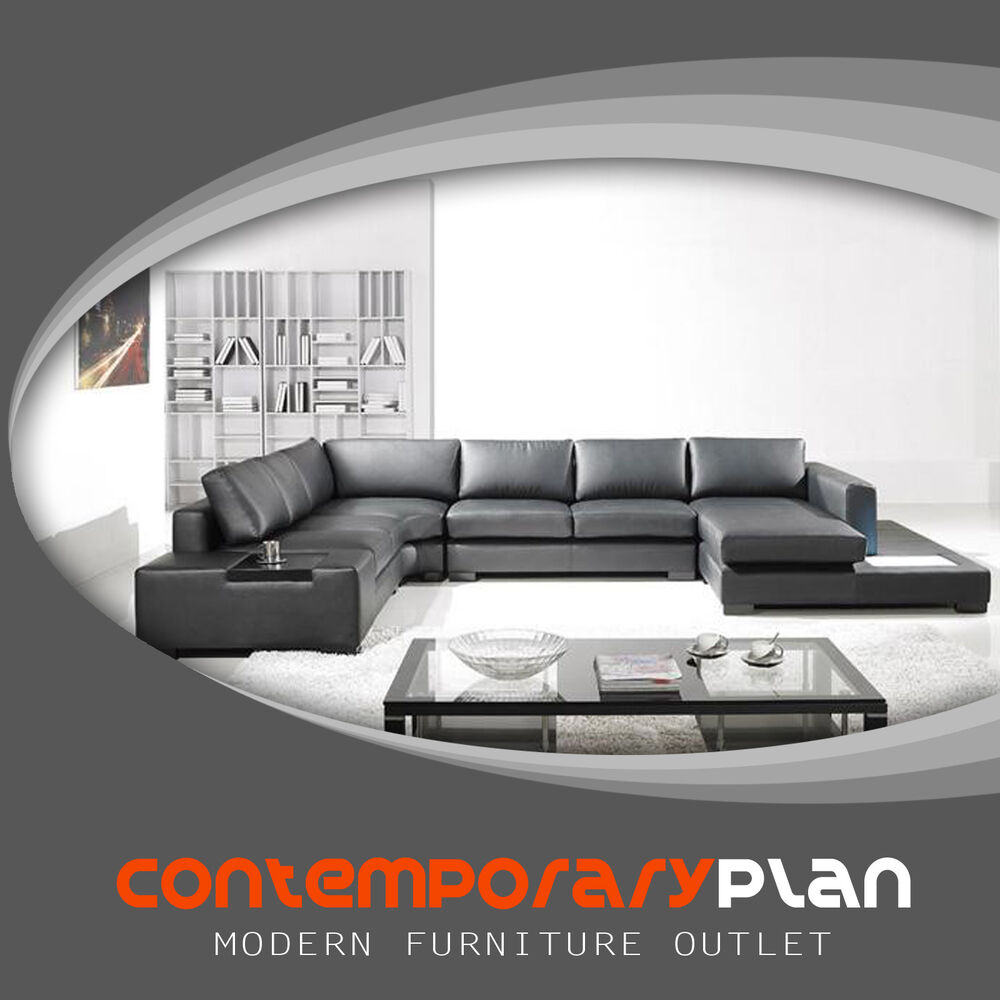 Modern Black Italian Leather Sectional Sofa W Built In Light And