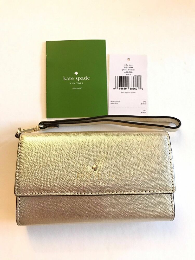 kate spade iphone wristlet new kate spade cedar gold wristlet iphone 6 6s 7 2476