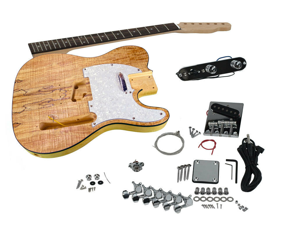 solo tele style diy guitar kit basswood body spalted maple top tck 1sm ebay. Black Bedroom Furniture Sets. Home Design Ideas