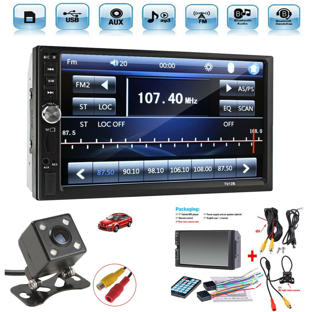 "2 Din 7"" Touch Screen FM Bluetooth Radio Audio Stereo Car"
