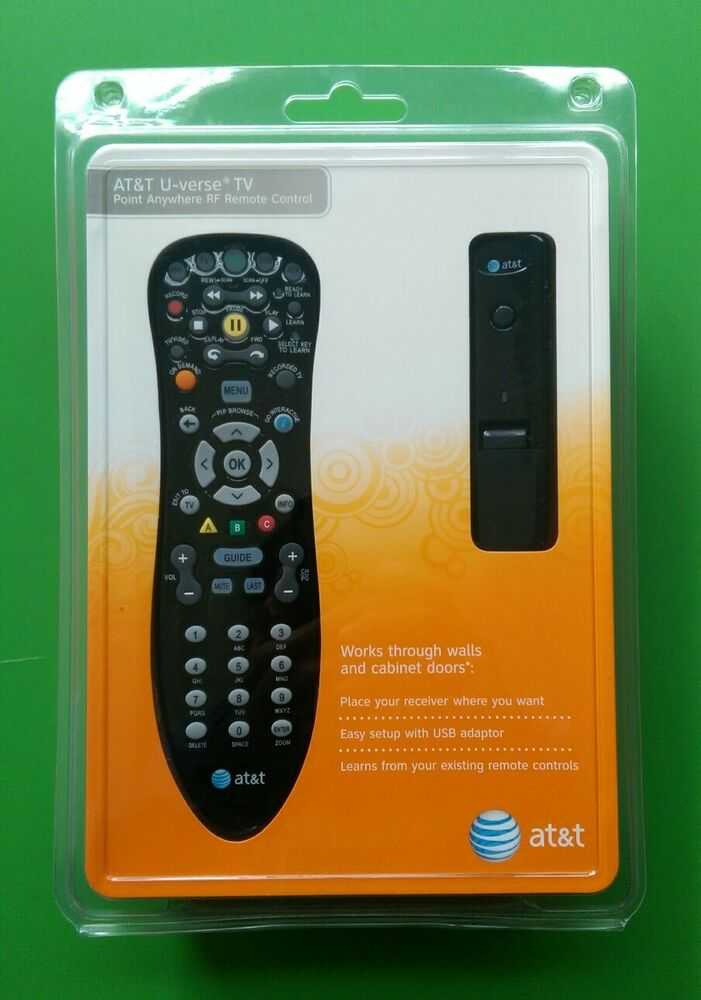 new at t u verse tv point anywhere rf remote control kit. Black Bedroom Furniture Sets. Home Design Ideas