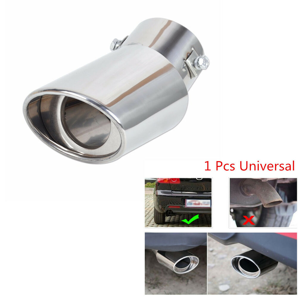 Tip Silvers: Car Universal Round Silver Stainless Steel Chrome Exhaust