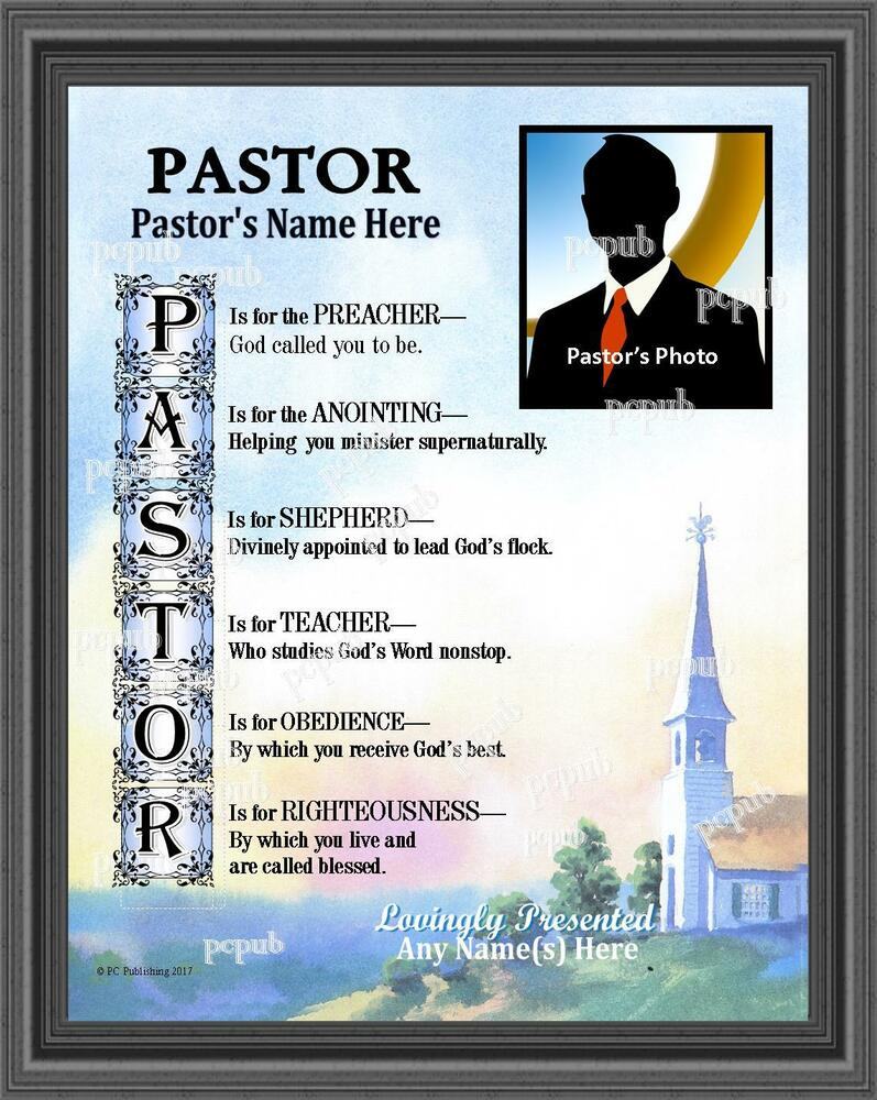 Pastor Anniversary Personalized Photo Name Poem Gift Thank ...