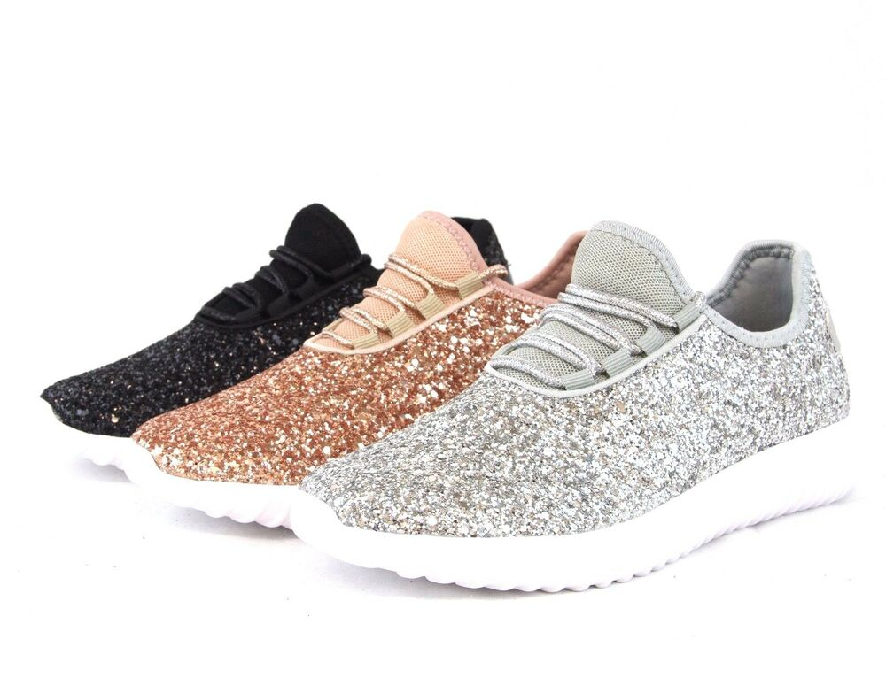 sequin glitter sneakers tennis lightweight comfort