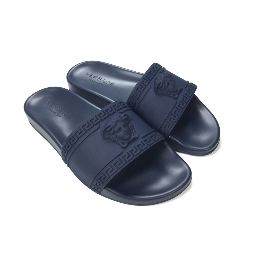 70ab76cb7ff420 Details about NWT Versace Men s Palazzo Medusa Greek Key Logo Navy Slides Flip  Flops AUTHENTIC