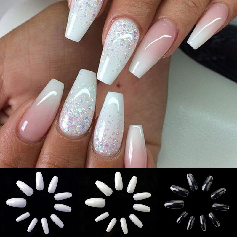 600pcs Long Ballerina Coffin Shape Full Cover False Fake Nails Art ...