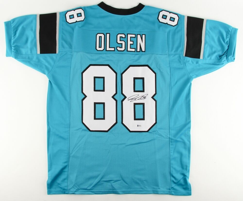 8896b2cd6 ... hot details about greg olsen signed panthers jersey beckett coa 3xpro  bowl tight end 20142016 1fe56