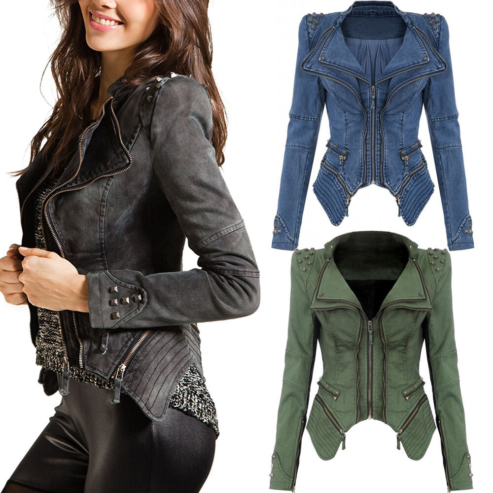 damen jeansjacke mantel denim blazer biker jacke kurz nieten jacke neu ebay. Black Bedroom Furniture Sets. Home Design Ideas