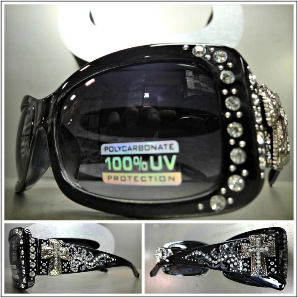 a032825c7ee2 Details about New WESTERN Bling Rhinestone COWGIRL SUN GLASSES Black Frame  Silver Cross Concho