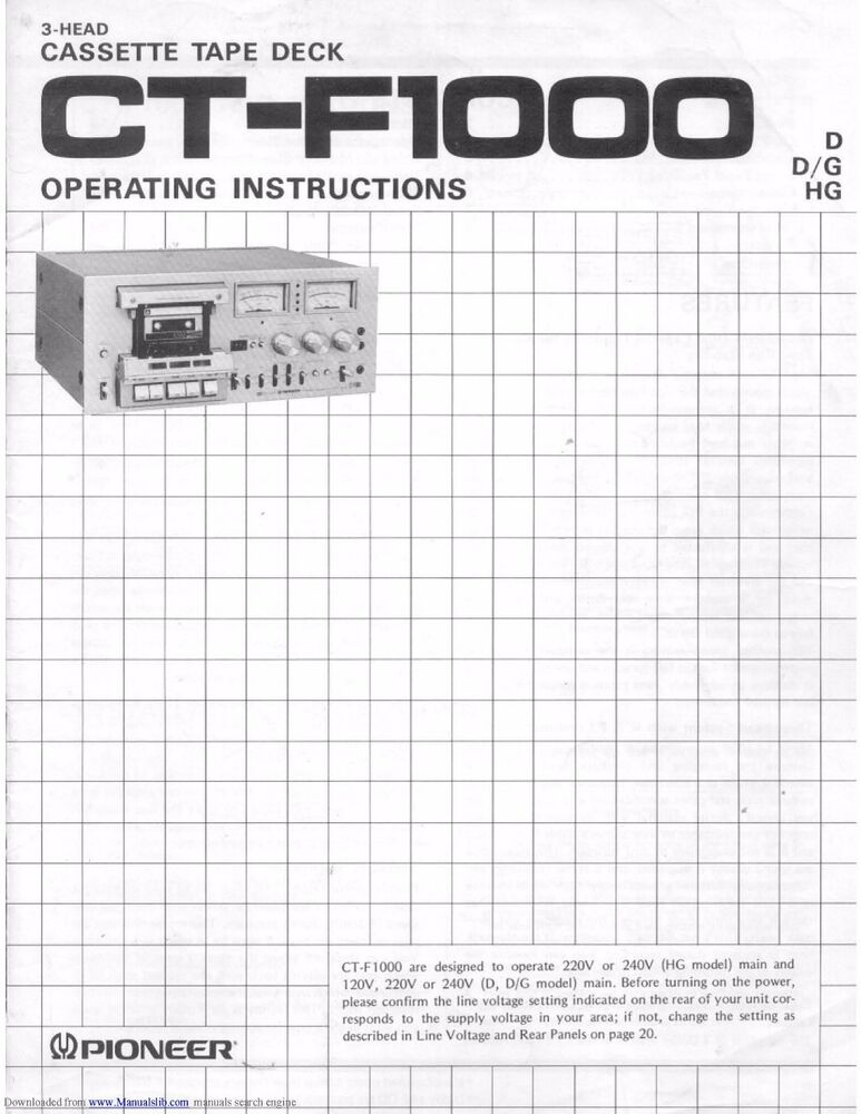 Pioneer Ct F1000 Cassette Tape Deck Owners Manual Ebay