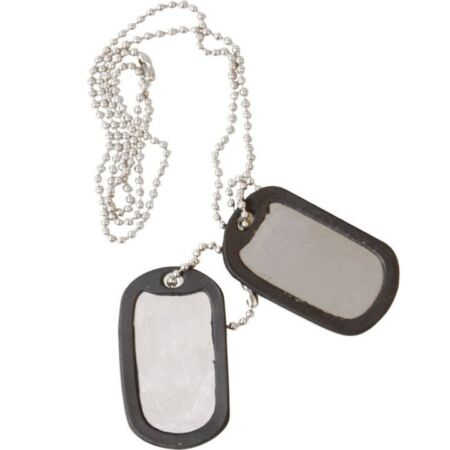 img-MILITARY DOG TAGS ARMY ID TAG NECKLACE MENS BOYS SOLDIER FANCY DRESS SILENCERS