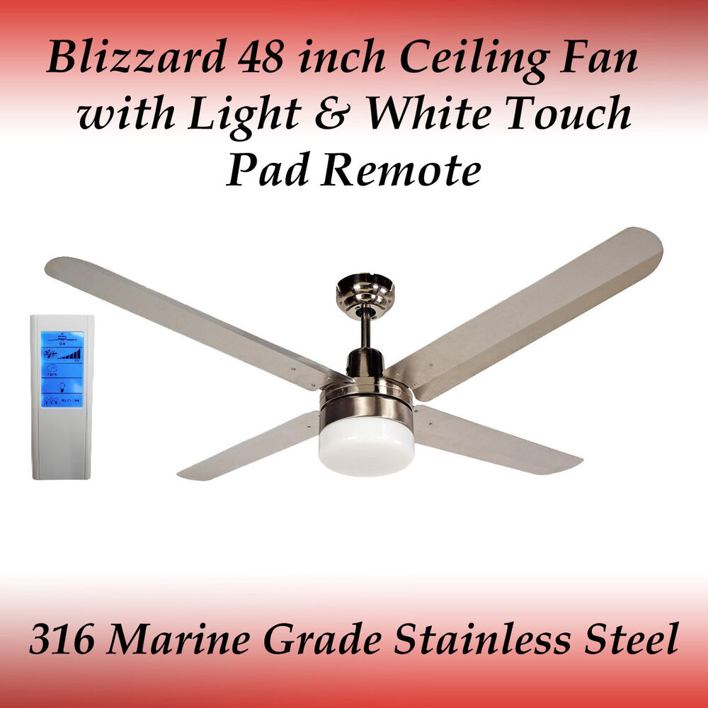 af3cb2a36db0 Details about Blizzard 48 inch Stainless Steel Ceiling Fan with Light and  White Touch Remote