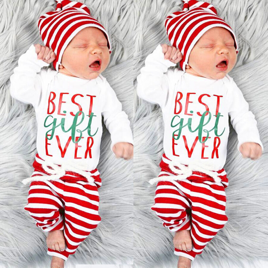Details about xmas striped newborn baby boys girls outfit clothes romper top long pants hat