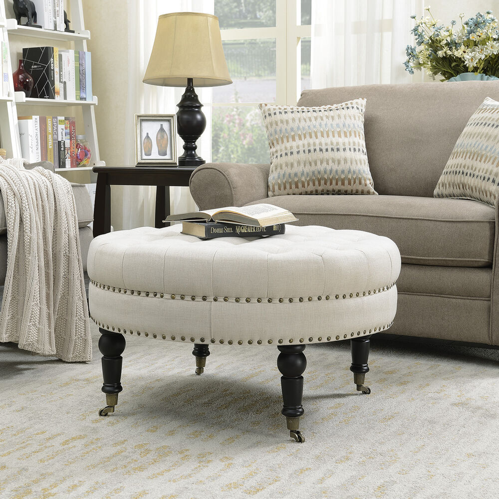 Round Ottoman Large Tufted Upholstery Bedroom With Caster
