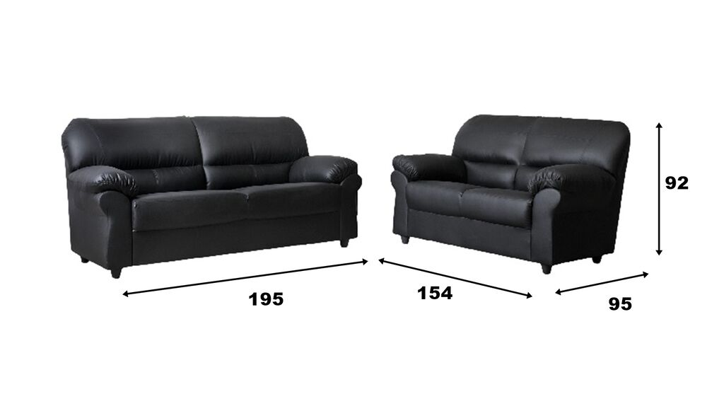 Couch On Sale For Cheap: HUGE SALE New Large Candy Sofas Black Faux Leather Suite