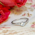 Womens Delicate 3/4 CT Promise Engagement RING For Her Silver Plated SIZE 4-10