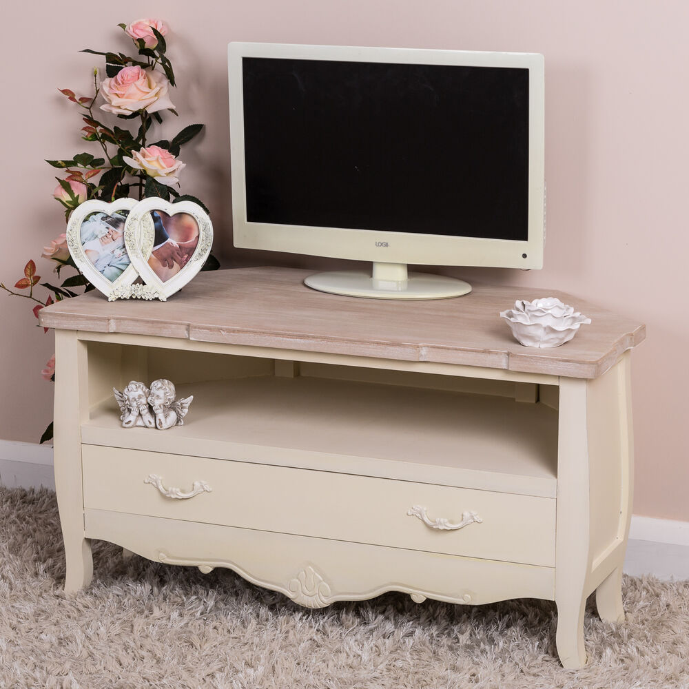 cream corner television stand shabby vintage chic tv unit cabinet ornate home ebay. Black Bedroom Furniture Sets. Home Design Ideas