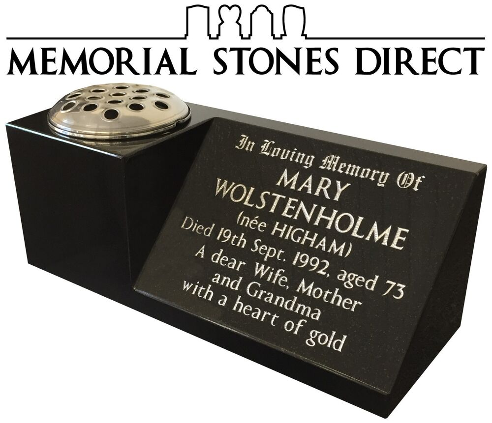 Black granite memorial vase grave headstone plaque marble stone black granite memorial vase grave headstone plaque marble stone flower vases ebay reviewsmspy