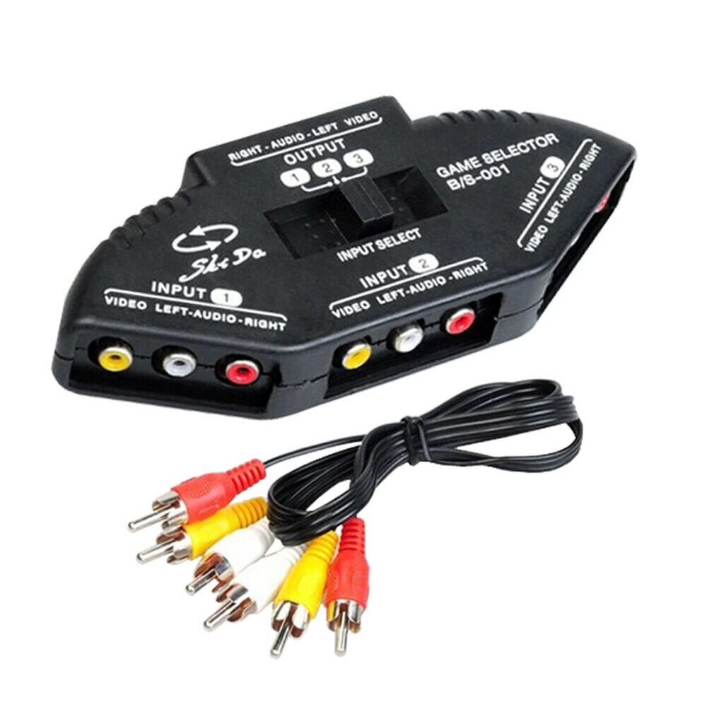 p99 3 weg audio video av rca switch selector box splitter umschalter 3rca kabel 6219590902166 ebay. Black Bedroom Furniture Sets. Home Design Ideas