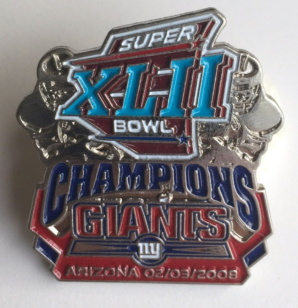 8ca254fffc8 Details about New York Giants LE Super Bowl XLII Champions Pin vs New  England Patriots