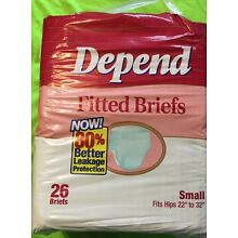 VINTAGE DEPEND Adult Fitted diapers Size Small 26 Pack (1990's)