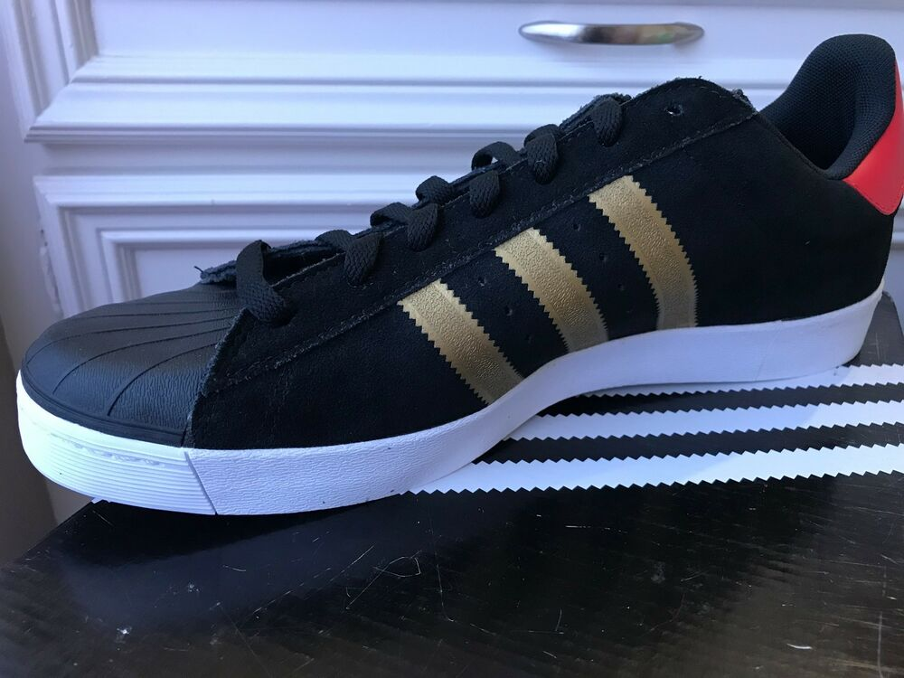 hot sale online 99c34 1507a Details about NEW Adidas SUPERSTAR VULC ADV Leather Black Gold Red Men s  Shoes D68721