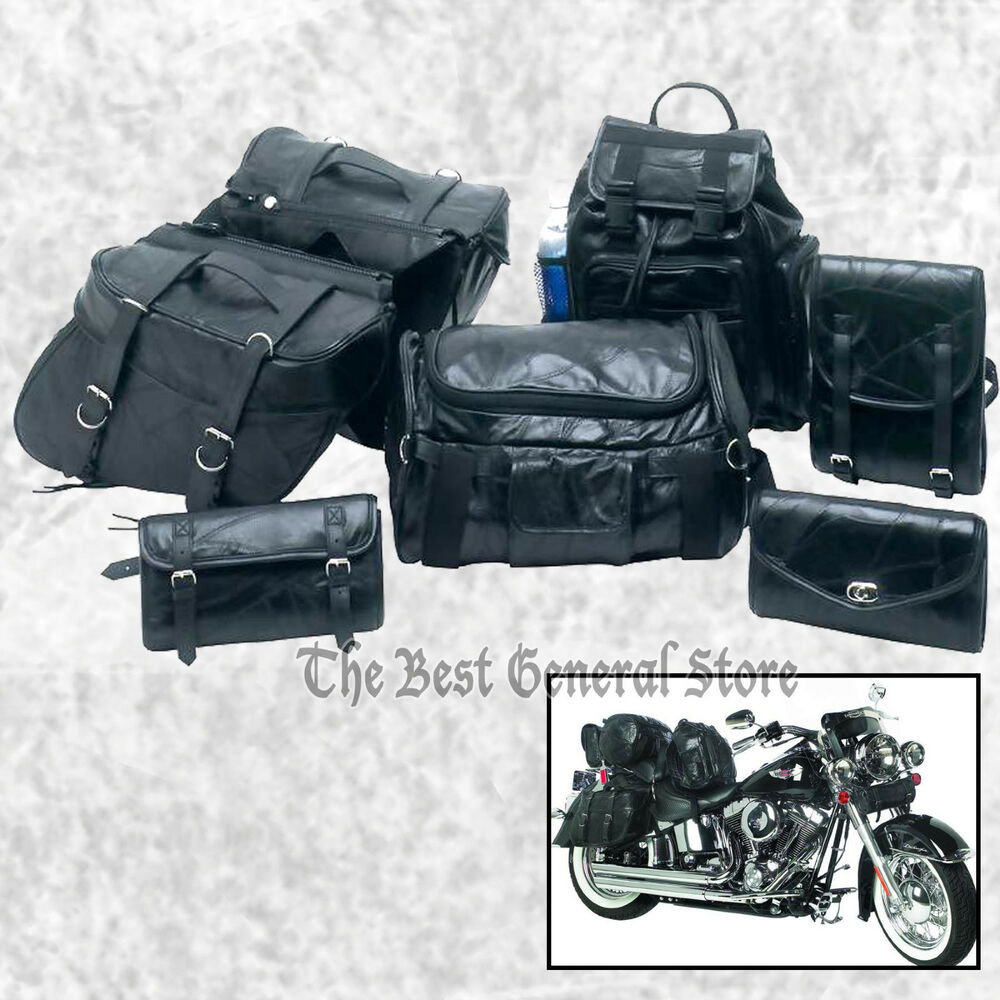 a64e28a41a Details about 7pc Black Leather Motorcycle Travel Bags Saddlebags Luggage  Backpack Sissy Bar