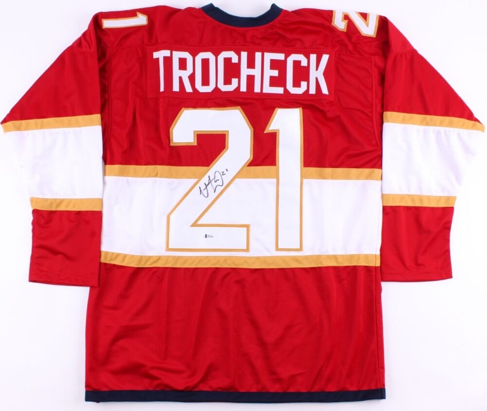 021b84070 ... NHL Jersey - Womens Vincent Trocheck Signed Florida Panthers Jersey  (Beckett COA Authentic - Vincent Trocheck - Mens Reebok Florida Panthers 21  ...