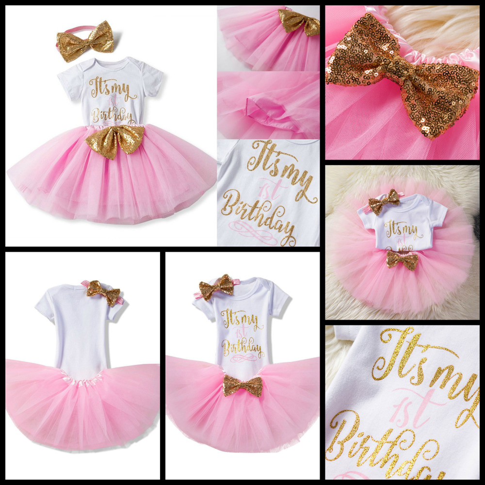 It's My 1st Birthday Girl Dress 1 Year Baby Outfit Romper